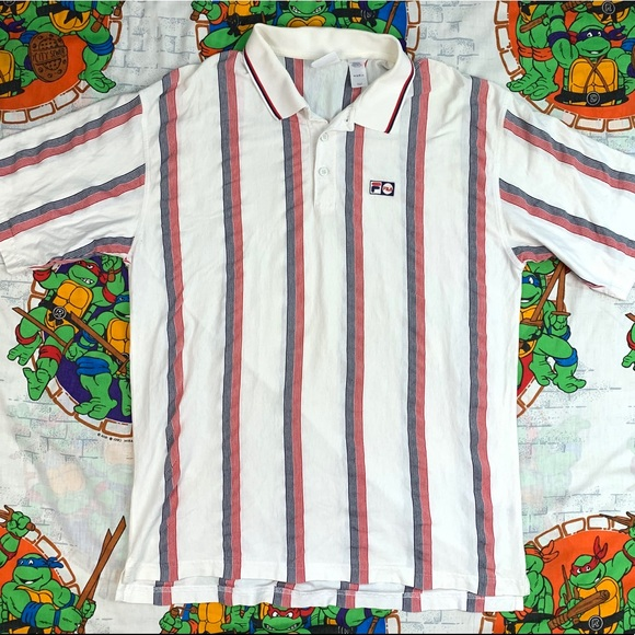 2a96de7969 Fila Shirts | Vintage 90s Red White Blue Striped Polo Shirt | Poshmark